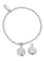 ChloBo Cute Charm Bracelet with Live Love Life Charm - Silver