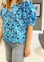 Free Organic Cotton Floral Top - Light Blue additional image