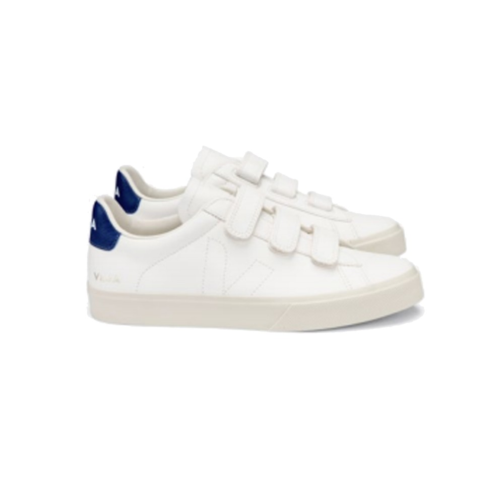 Recife Leather Trainers - Extra White & Cobalt