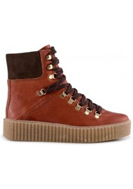 SHOE THE BEAR Agda Leather Lace Up Boot - Red Brown