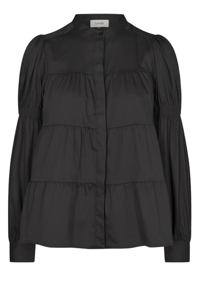 LEVETE ROOM Isla Solid 15 Cotton Mix Blouse - Black main image