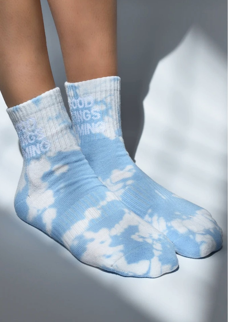 SOXYGEN Good Things Coming Organic Cotton Socks - Cloud Tie Dye main image