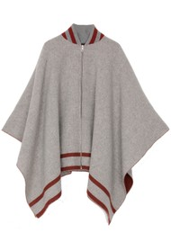 RAG & BONE Varsity Wool Poncho - Mid Grey