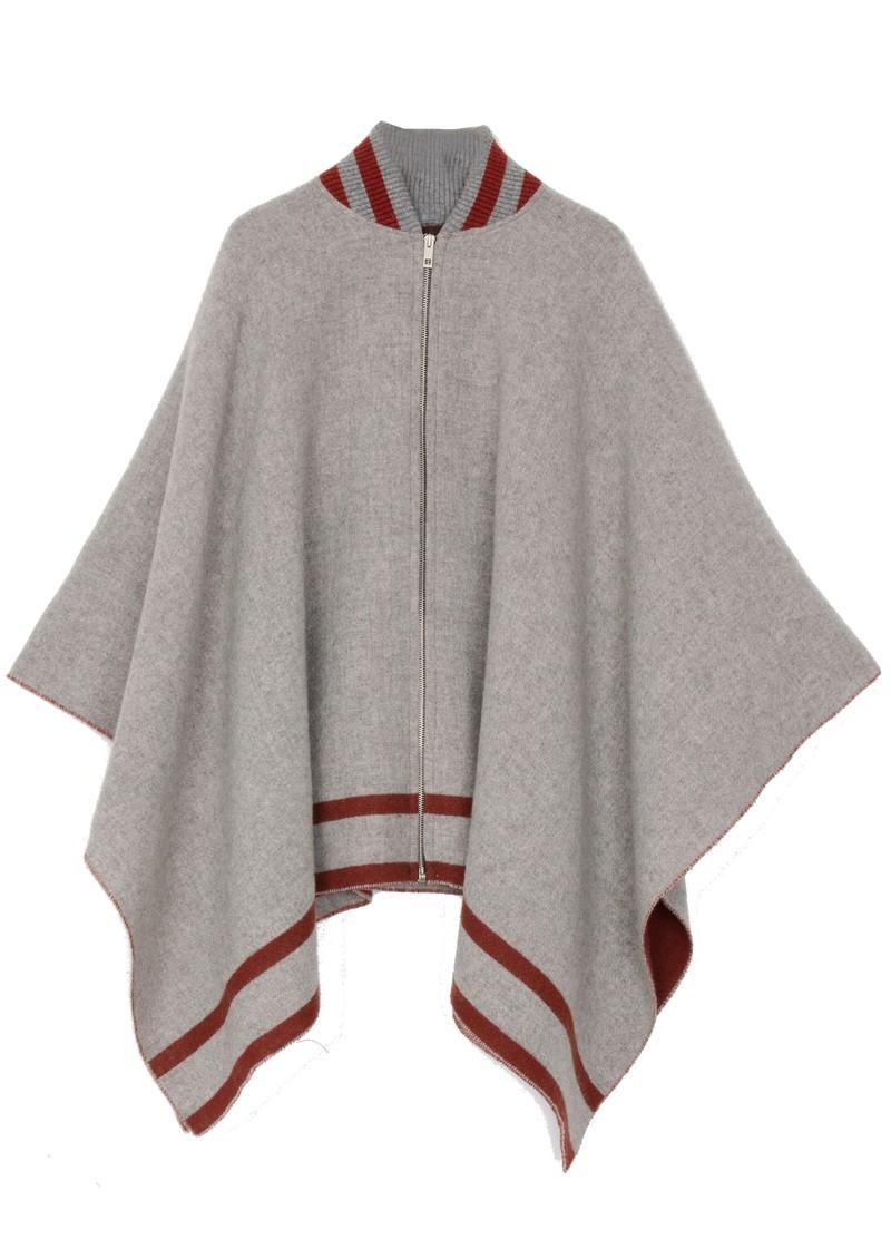 RAG & BONE Varsity Wool Poncho - Mid Grey main image