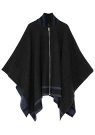 RAG & BONE Varsity Wool Poncho - Charcoal