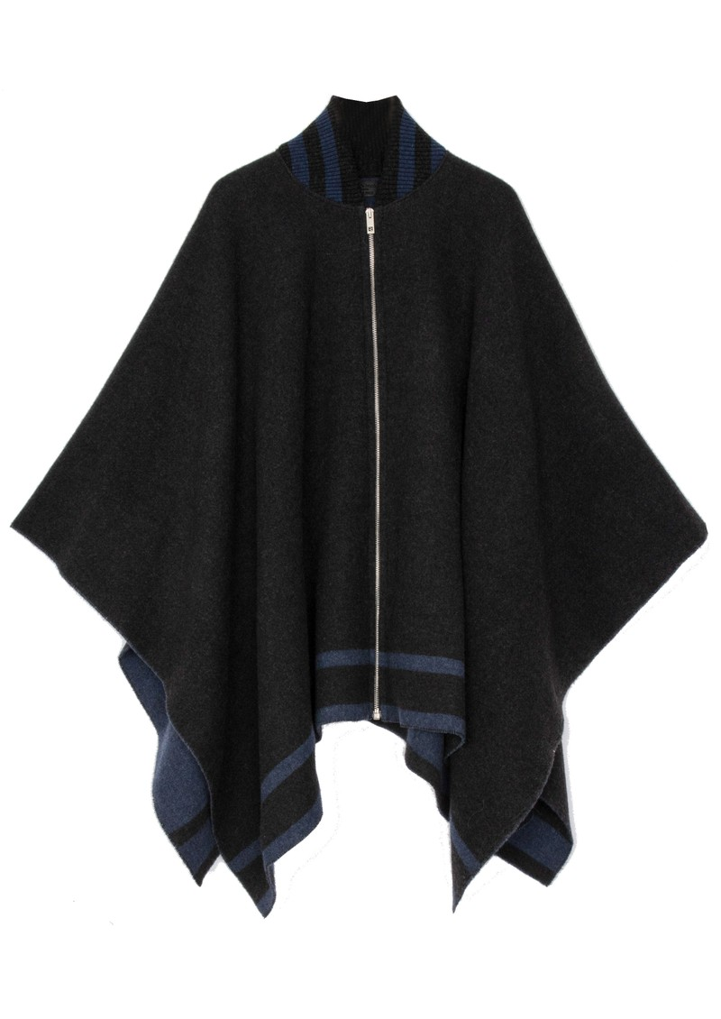 RAG & BONE Varsity Wool Poncho - Charcoal main image