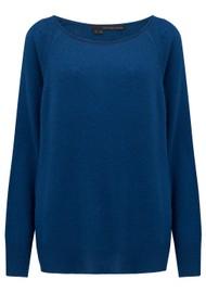 360 SWEATER Jessa Wide Neck Cashmere Jumper - True Blue