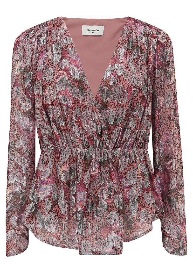 BERENICE Touchy Floral Top - Pink Midnight  main image