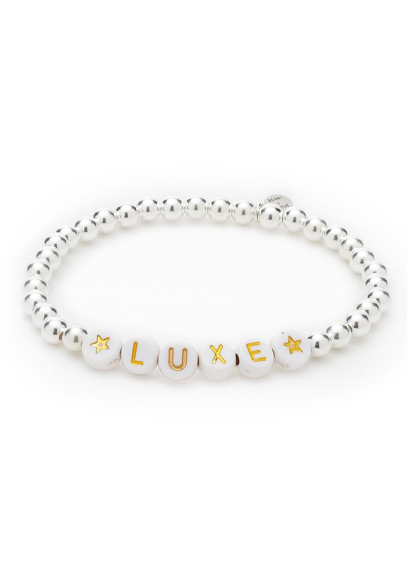 BONNY & BLITHE Luxe Beaded Bracelet - White & Silver main image