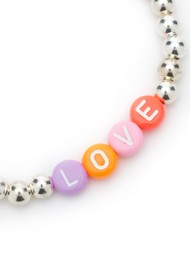 BONNY & BLITHE Love Beaded Bracelet - Multi Brights & Silver