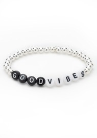 BONNY & BLITHE Good Vibes Beaded Bracelet - Black, White & Silver