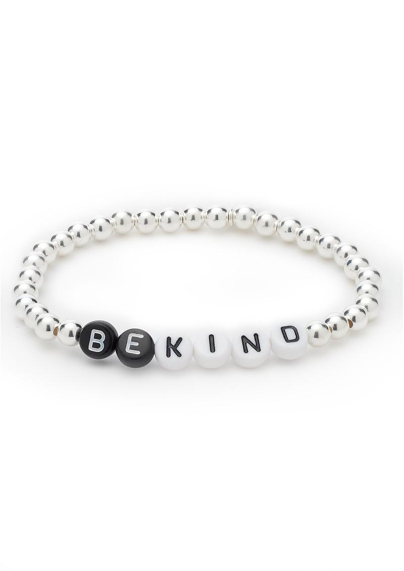 BONNY & BLITHE Be Kind Beaded Bracelet - Black, White & Silver main image