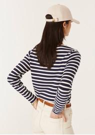 MAISON LABICHE Je Ne Sais Quoi Sailor Long Sleeve Sailor Top - Navy & Ivory
