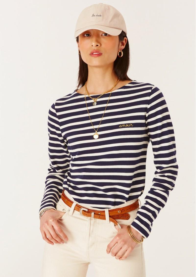 MAISON LABICHE Je Ne Sais Quoi Sailor Long Sleeve Sailor Top - Navy & Ivory main image