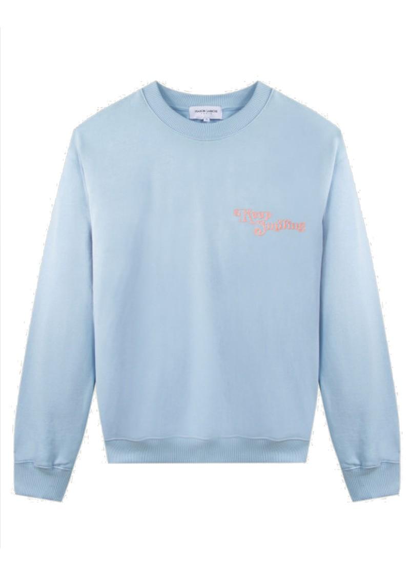 MAISON LABICHE Keep Smiling Organic Cotton Sweater - Pastel Blue main image