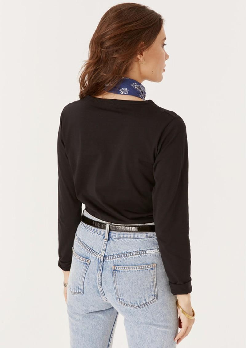 MAISON LABICHE Amour Long Sleeve Organic Cotton Top - Black main image