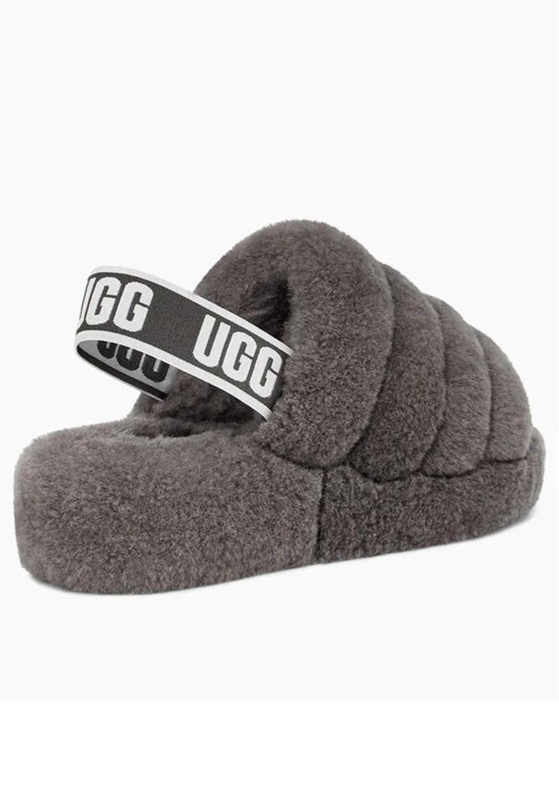 UGG Fluff Yeah Logo Slide Slippers - Charcoal main image