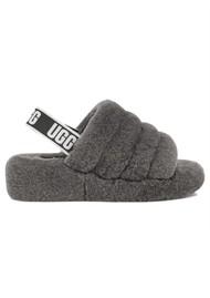 UGG Fluff Yeah Logo Slide Slippers - Charcoal