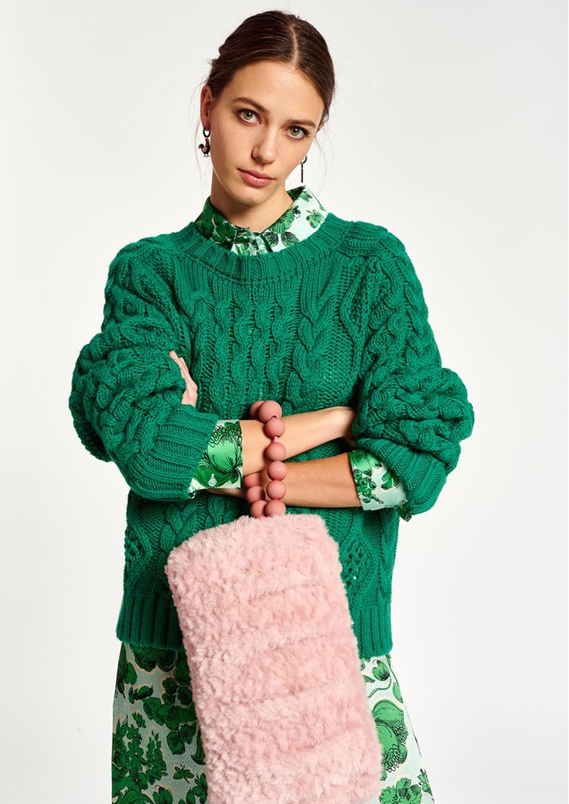 ESSENTIEL ANTWERP Agatti Cable Sweater - Green main image
