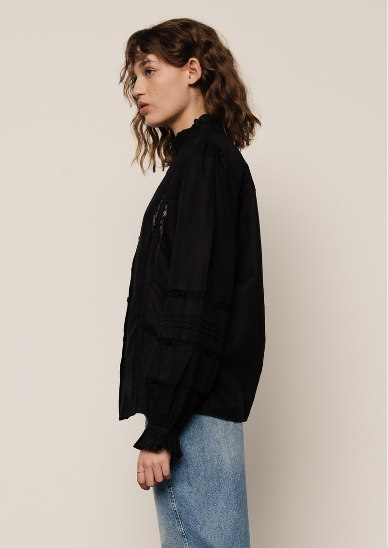 Lily and Lionel Abby Cotton Mix Shirt - Black main image