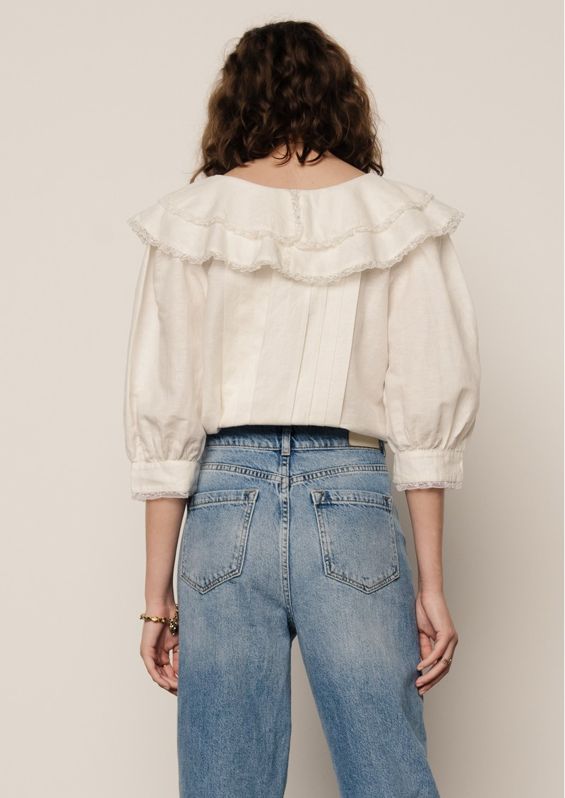 Lily and Lionel Keira Cotton Mix Blouse - Ivory main image