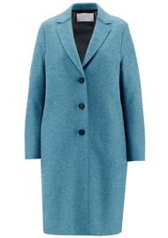 HARRIS WHARF Pressed Wool Polaire Overcoat - Azure