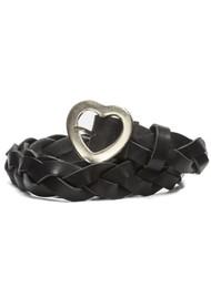 FABIENNE CHAPOT Braidy Leather Heart Belt - Black