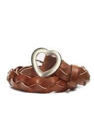 FABIENNE CHAPOT Braidy Leather Heart Belt - Cognac