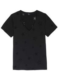 Rails Cara V Neck Tee - Black Star Burnout