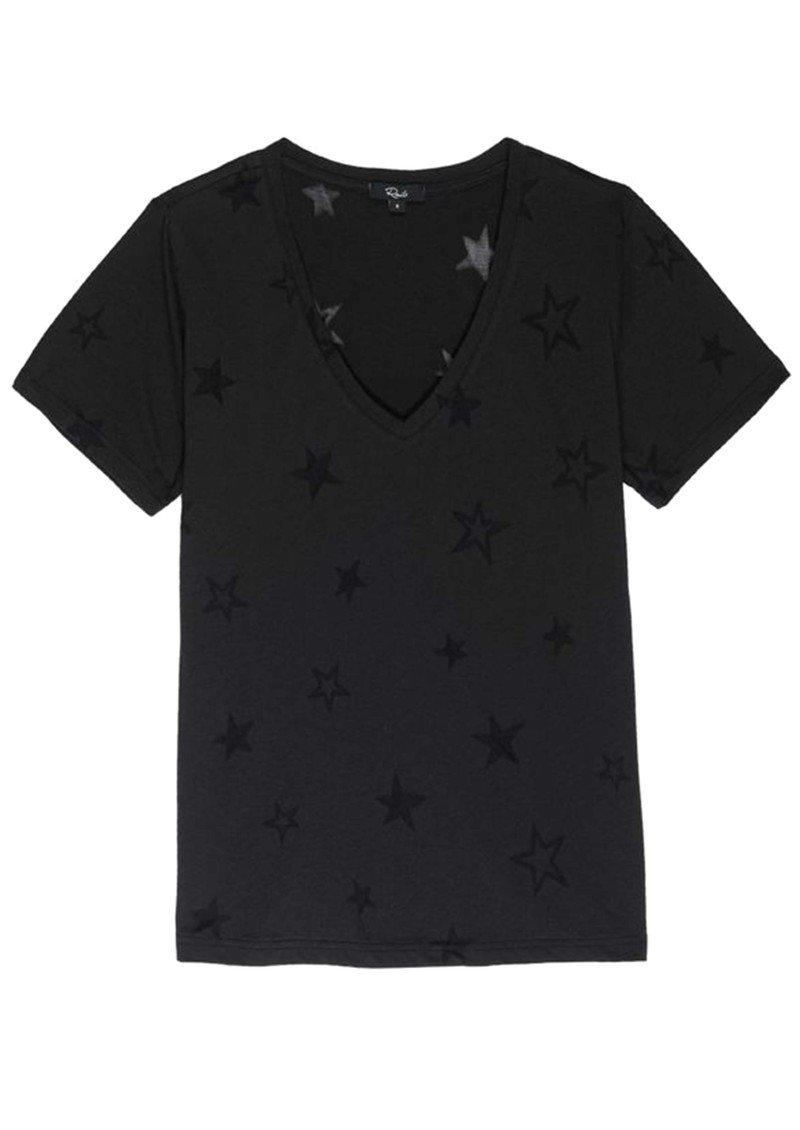 Rails Cara V Neck Tee - Black Star Burnout main image