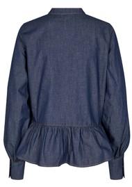 LEVETE ROOM Offy 1 Cotton Blouse - Denim Blue