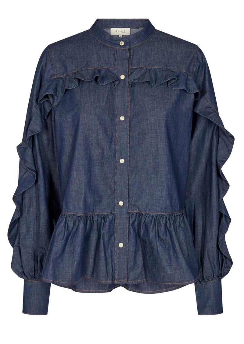 LEVETE ROOM Offy 1 Cotton Blouse - Denim Blue main image
