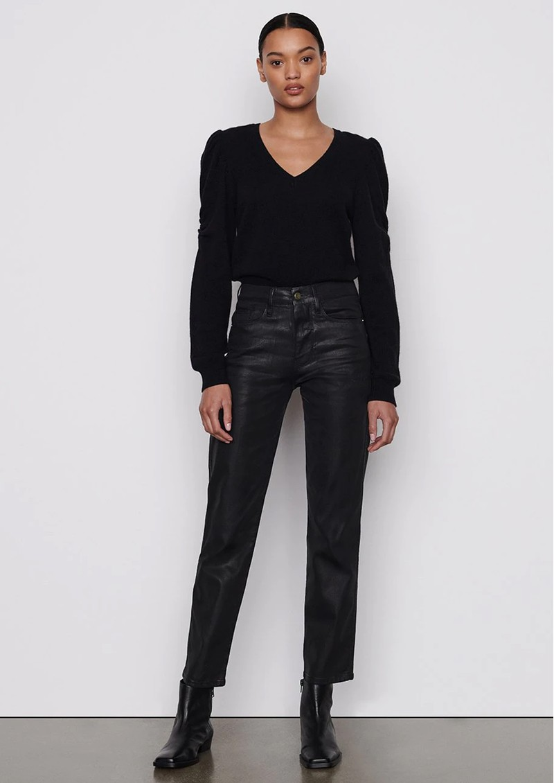 Frame Denim Le Sylvie High Rise Straight Coated Jeans - Noir main image