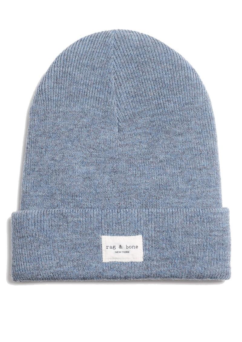 RAG & BONE Addison Ribbed Wool Beanie Hat - Light Blue main image