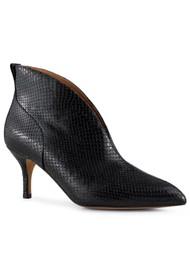 SHOE THE BEAR Valentine Low Cut Snake Leather Heel Shoe Boot - Black