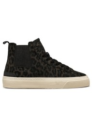 D.A.T.E Sonica High Animalier Suede Trainers - Leopard