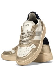 D.A.T.E Court 2.0 Low Top Leather Trainers - Laminated Platino
