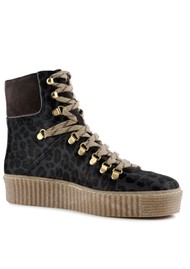 SHOE THE BEAR Agda Leopard Lace Up Boots - Grey