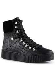 SHOE THE BEAR Agda Leather Lace Up Boot - Black Croco