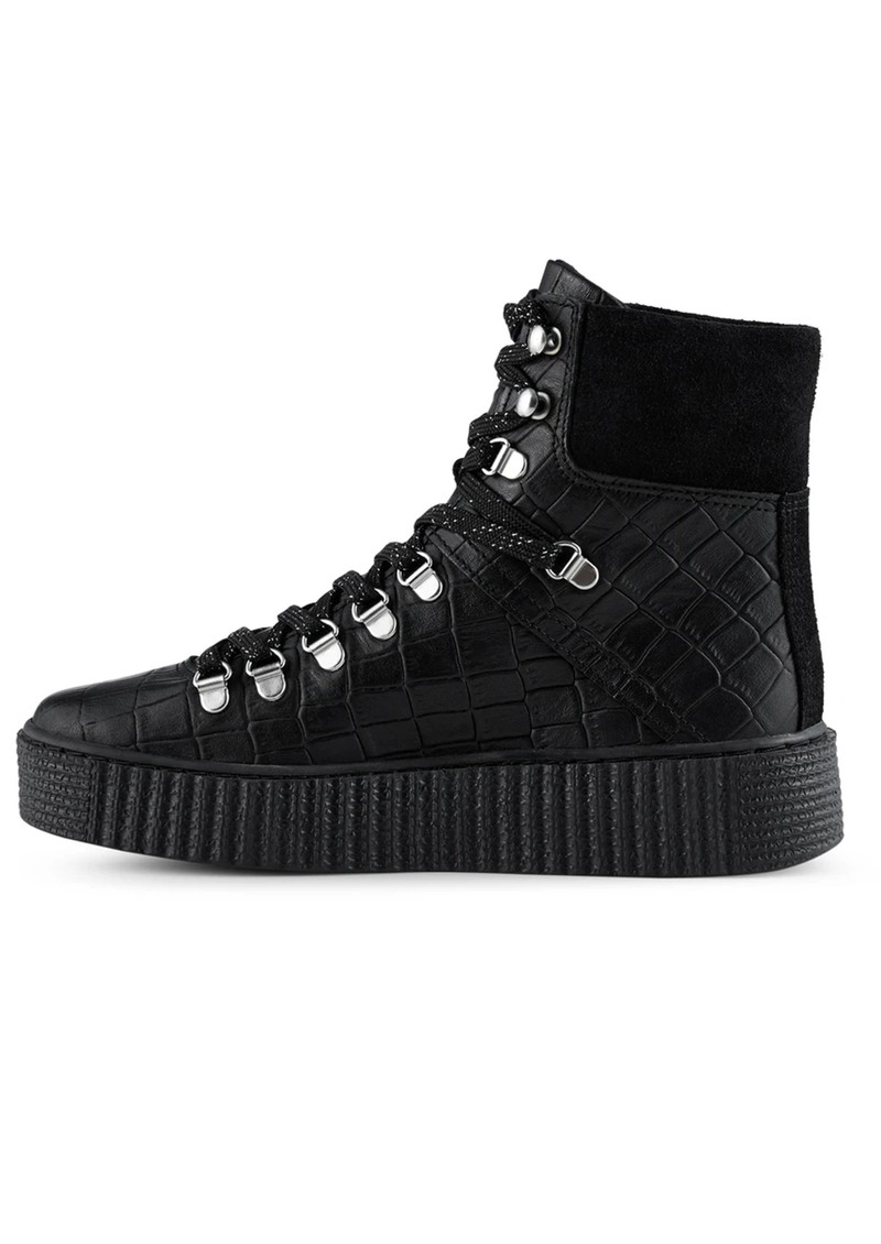 SHOE THE BEAR Agda Leather Lace Up Boot - Black Croco main image