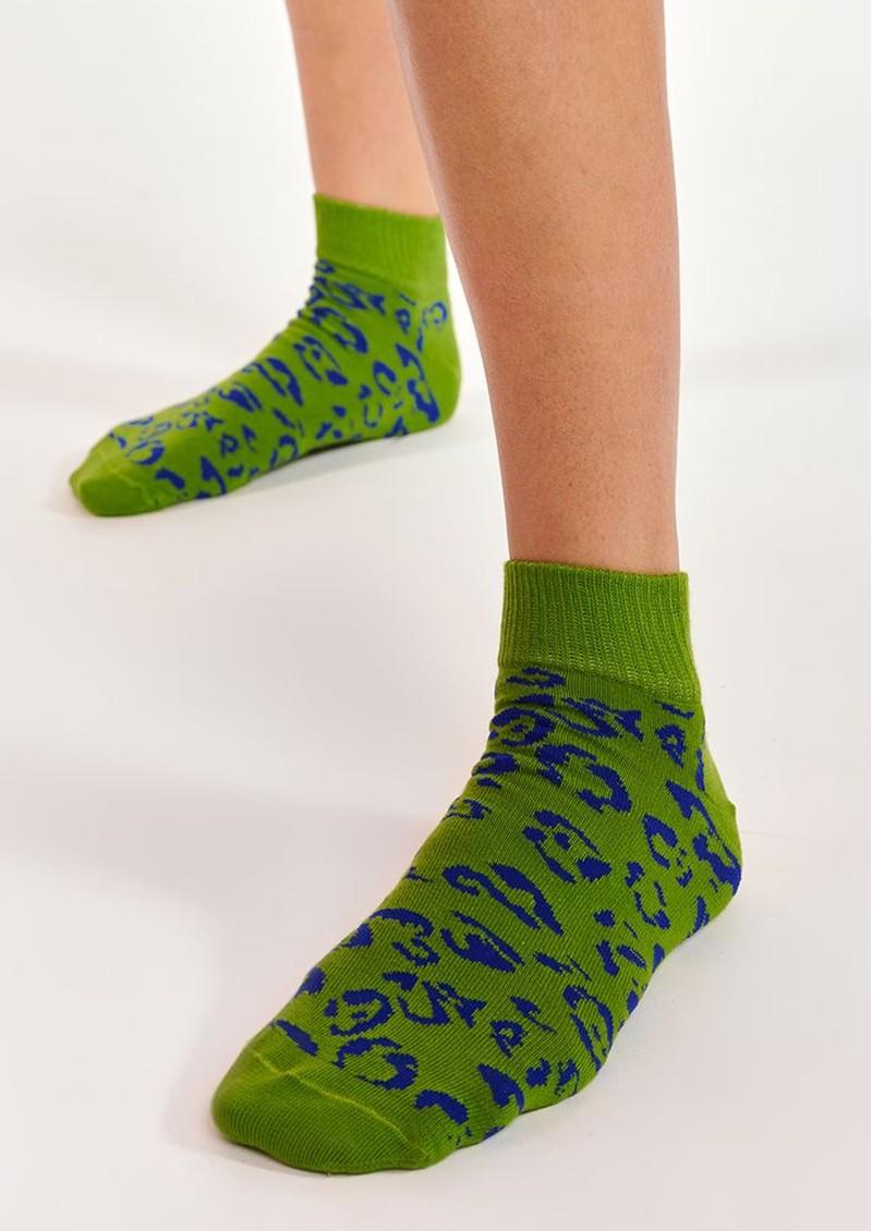 ESSENTIEL ANTWERP Alkiri Cotton Mix Leopard Socks - Anti Green main image