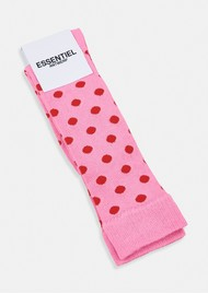 ESSENTIEL ANTWERP Abushka Knee Length Polka Dot Socks - Lipstick Wonder