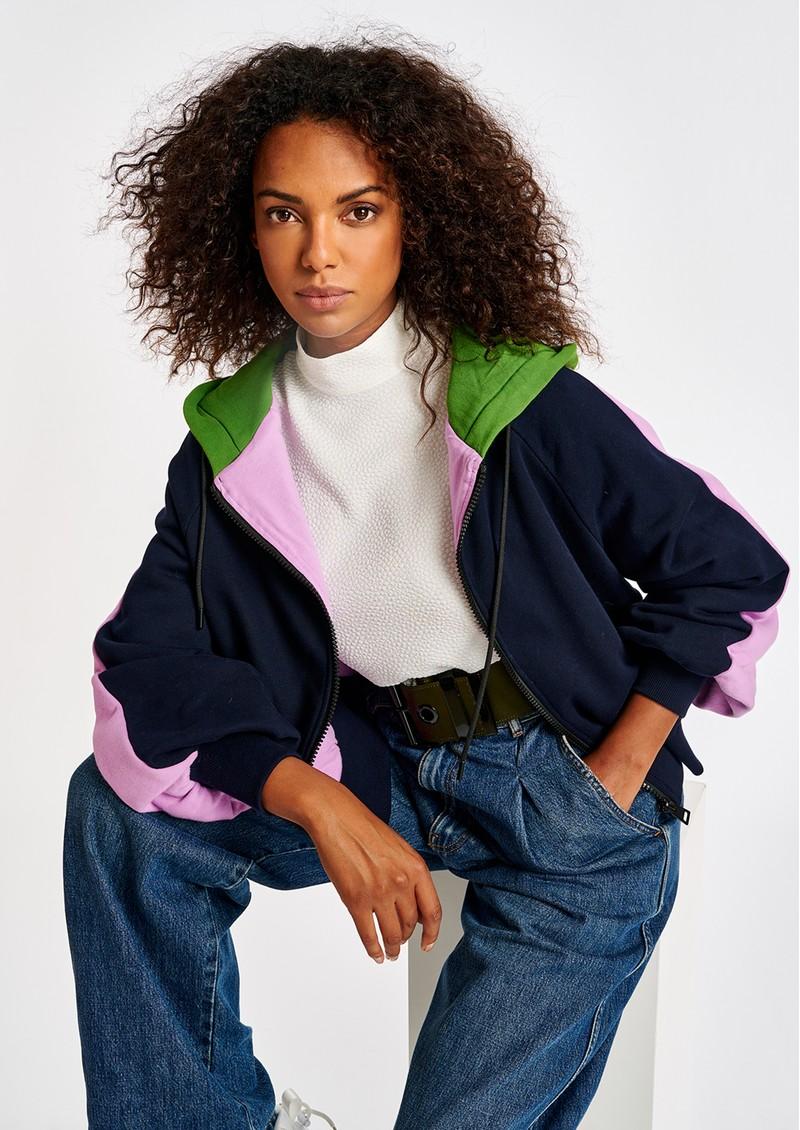 ESSENTIEL ANTWERP Amery Organic Cotton Zip Up Hoodie - Army Navy main image