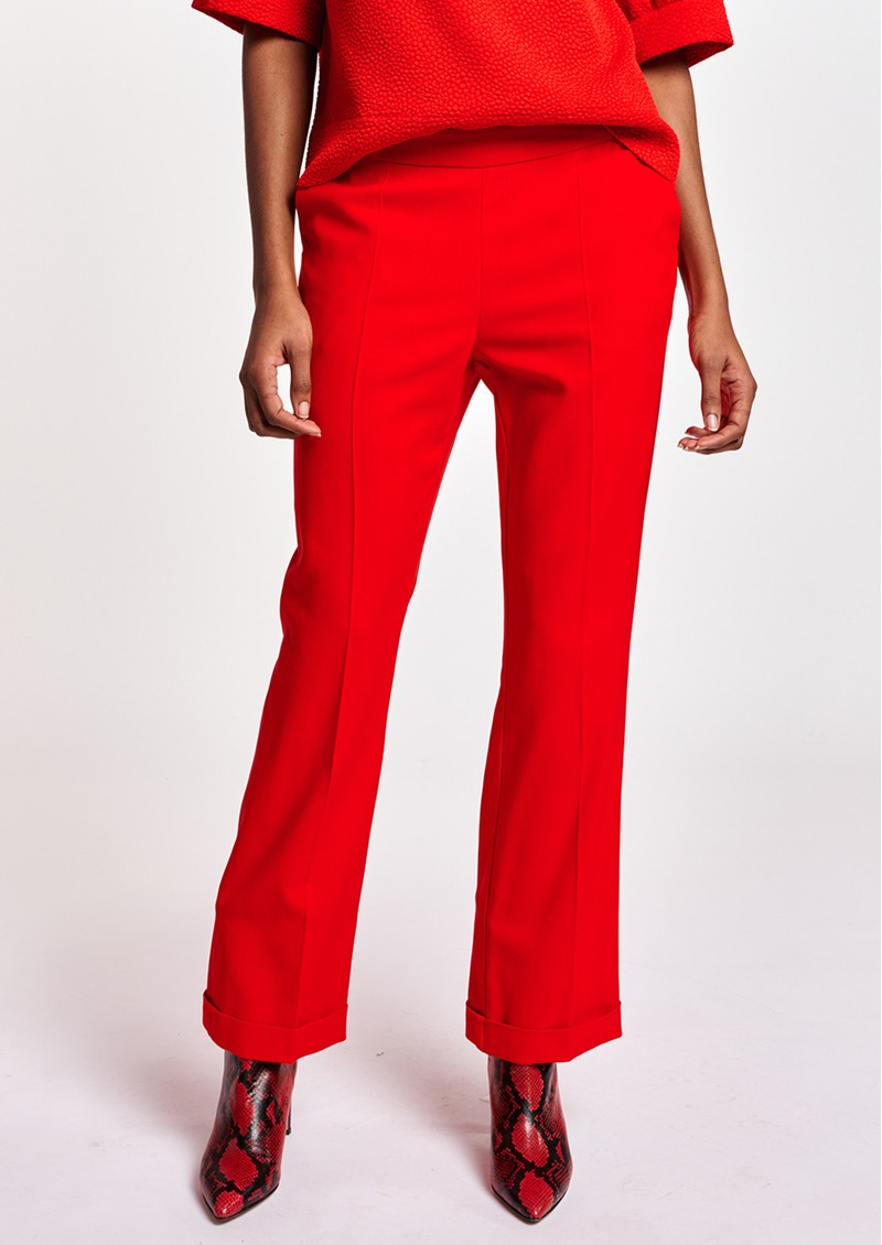 ESSENTIEL ANTWERP Annie Cropped Kickflare Trousers - Coral Queen  main image