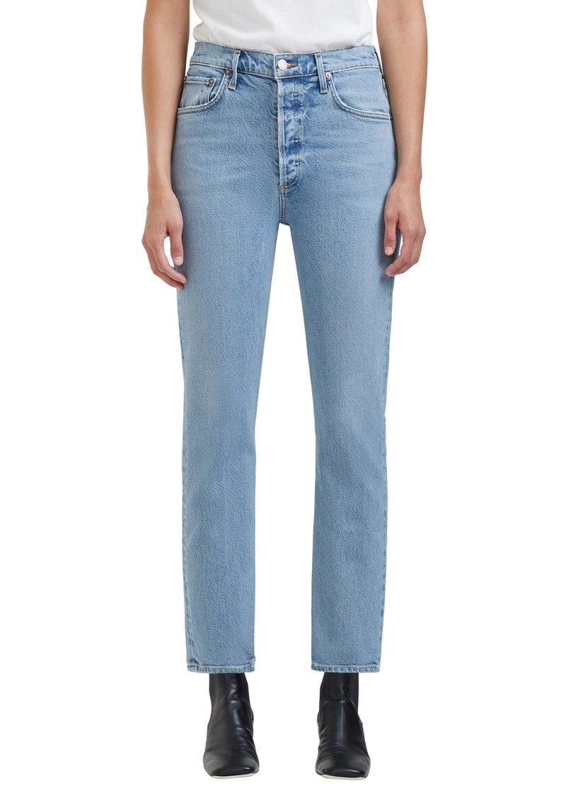 AGOLDE Riley High Rise Crop Straight Leg Jean - Shiver main image