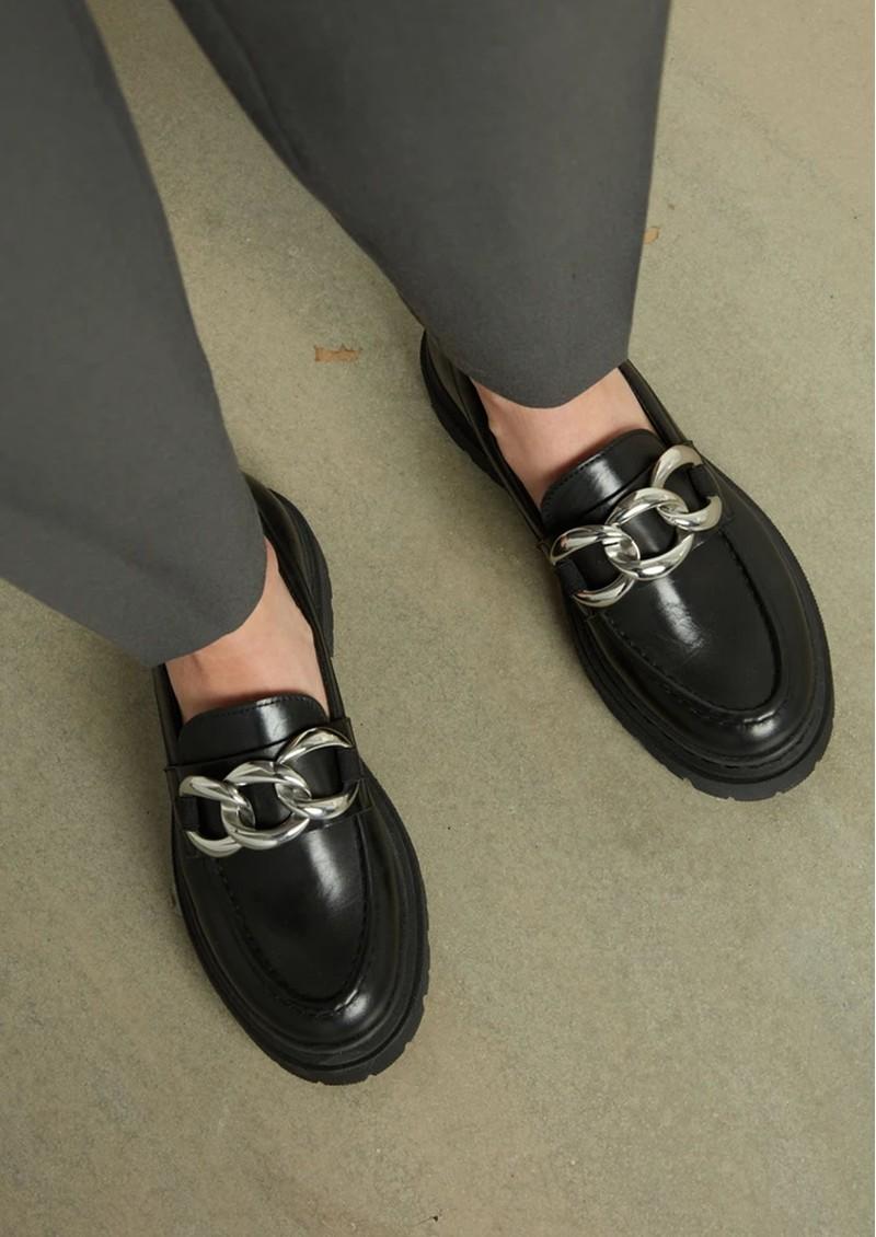 SHOE BIZ COPENHAGEN Uklava Leather Loafers - Black main image