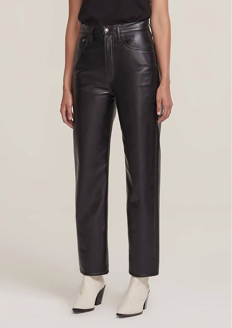 AGOLDE 90s High Rise Pinch Waist Recycled Leather Straight Leg Trousers - Detox main image