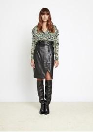 BERENICE Jack Leather Midi Skirt - Black
