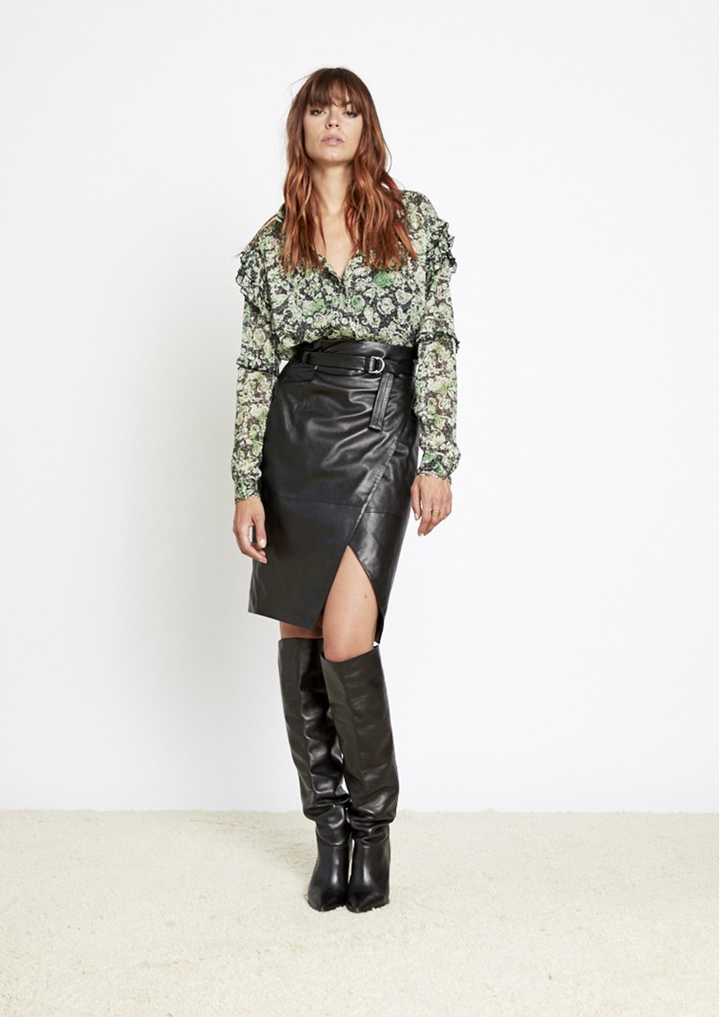 BERENICE Jack Leather Midi Skirt - Black main image