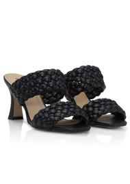 SHOE BIZ COPENHAGEN Samie Braided Leather Mules - Black